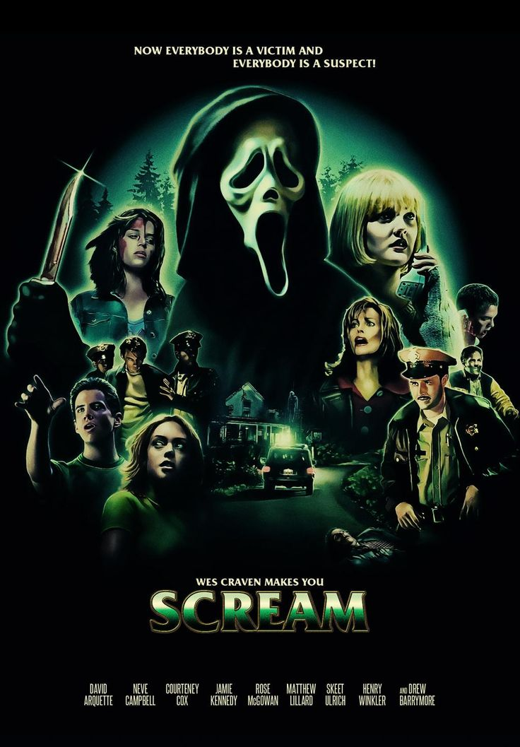 Scream / 	David Arquette Neve Campbell Courteney Cox Matthew Lillard Rose McGowan Skeet Ulrich Drew Barrymore