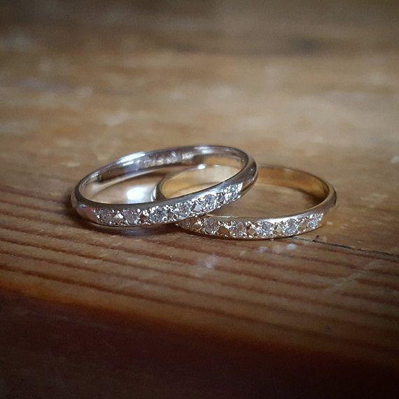 Weißgold Ehering ebnen Diamond Band Damen von TwoFeathersNY auf Etsy