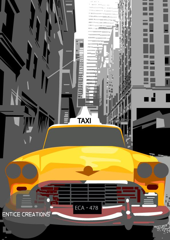 Graphic Design of Yellow Taxi in New York Visit: www.enticecreations.wordpress.com for more designs or follow @enticecreations on Instagram