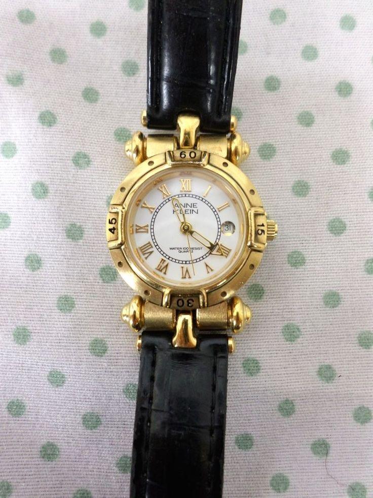 ANNE KLEIN Gold Black Leather Timepiece Watch Vintage AS IS NOT WORKING #AnneKlein #Casual