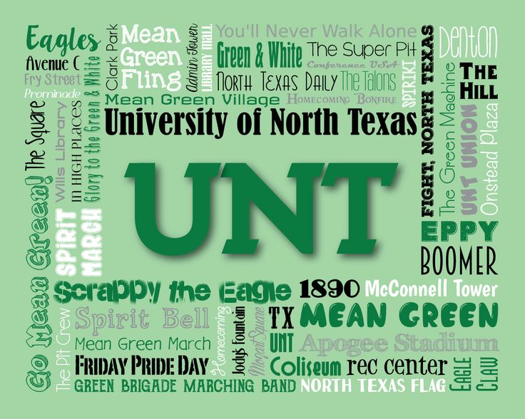 "Original artwork using words to describe ""UNIVERSITY OF NORTH TEXAS"" -- Show off your Mean Green pride in your home/dorm room/office with this print that details the many words for all things UNT like Scrappy the Eagle, Denton, Boomer, The Pit Crew and more. Come visit the Lexicon Delight Etsy store!"