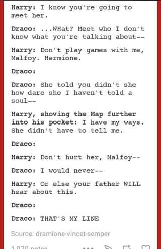 Not a Dramione shipper AT ALL.... but this is gold....>>>how could u not ship dramione. read a fanfiction and your in love with it ahhhhhhhh <3