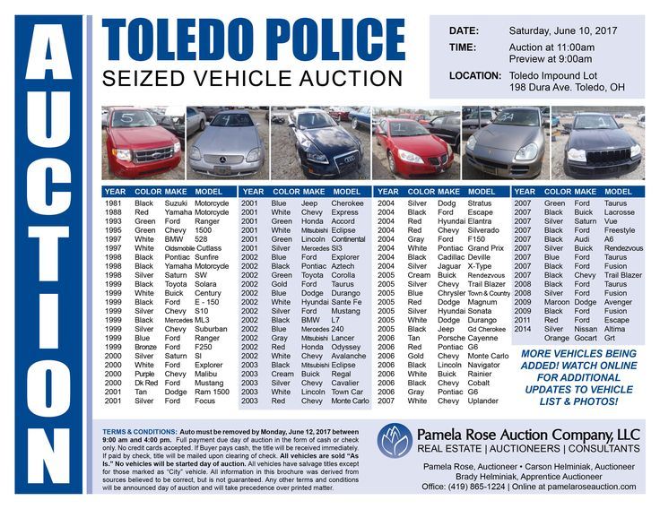 Toledo Police Seized Vehicle Auction! 80+ Vehicles Selling At Auction! Auction at the Toledo Police Impound Lot on Sat. June 10 at 11:00am, Registration Opens at 9:00am.