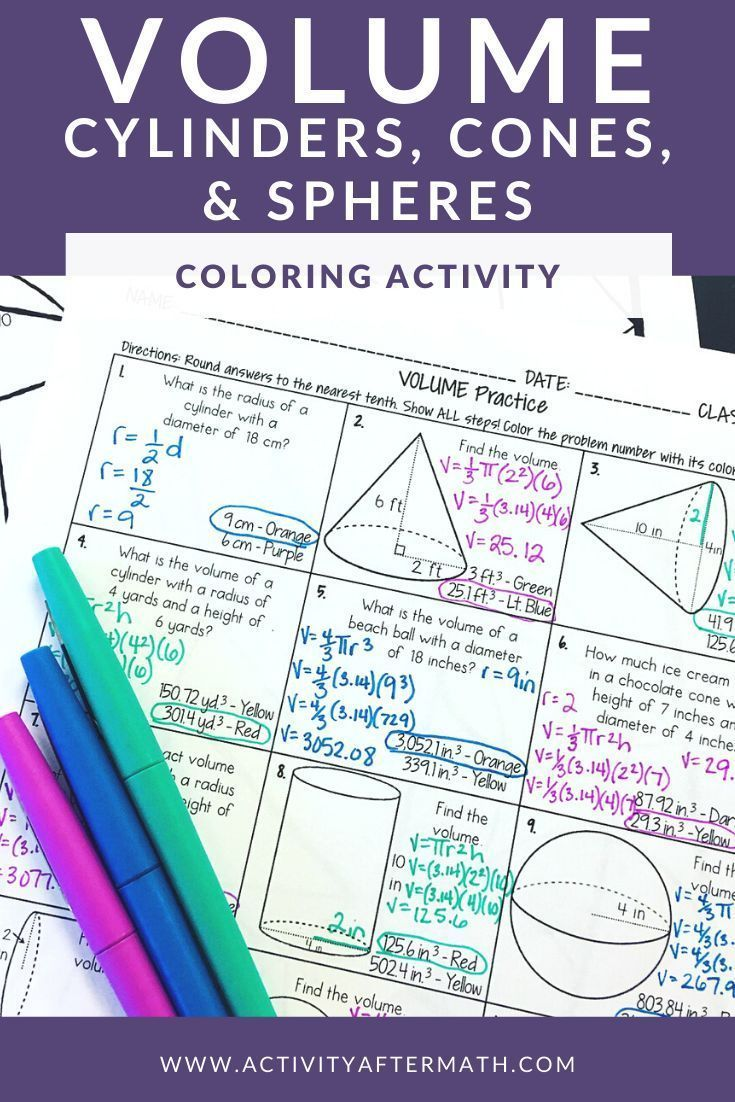 Volume Of Cylinders Cones And Spheres Coloring Activity 8th Grade Math Color Activities Math Reference Sheet