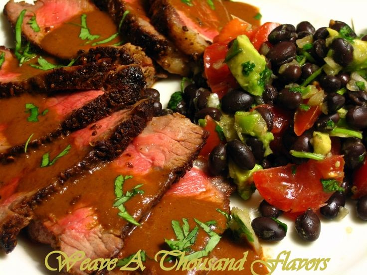 mmmmm...Cumin-Coriander Crusted Beef Steak with Mexican Mole Sauce