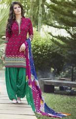 Lush Magenta Cotton Patiala Suit https://www.ethanica.com/products/lush-magenta-cotton-patiala-suit