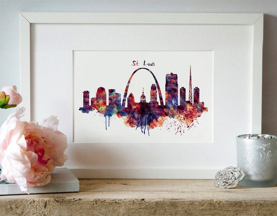 St Louis Skyline Watercolor painting Affordable art by Artsyndrome