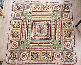 This blanket has been inspired by the character 'Demelza', from BBC's Poldark (2015). I used Demelza's colour palette and incorporated her love of flowers into each square.