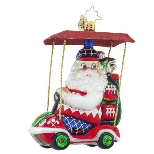 Christopher Radko Senior Tour Santa Claus Golf Themed Glass Ornament