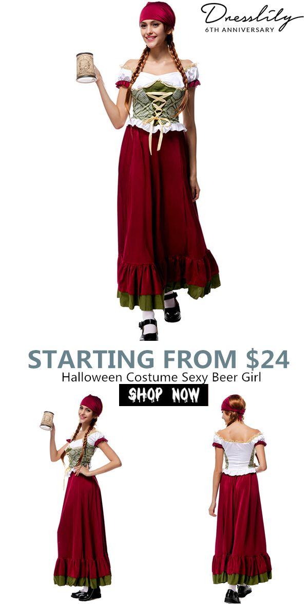 1908f25eb81 Halloween Costume Sexy Beer Girl Women s Lace up Long Dress With Headband.   dresslily  halloween
