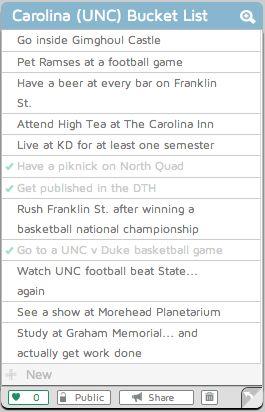 Bucket List. Carolina. UNC.