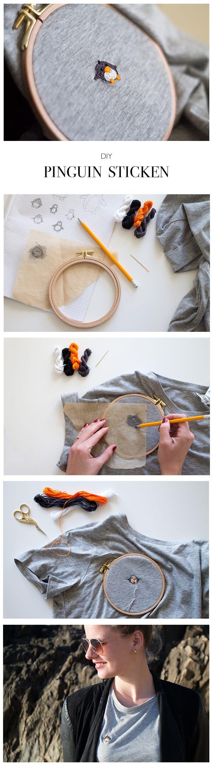 Pinguin sticken - DIY Blog lindaloves.de