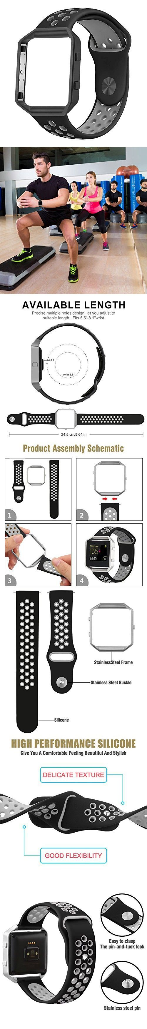 For Fitbit Blaze Band ,Sport Silicone Replacement Strap With Frame For Fitbit Blaze Smart Fitness Watch,Gray adn Black (5.5-8.1 inch)