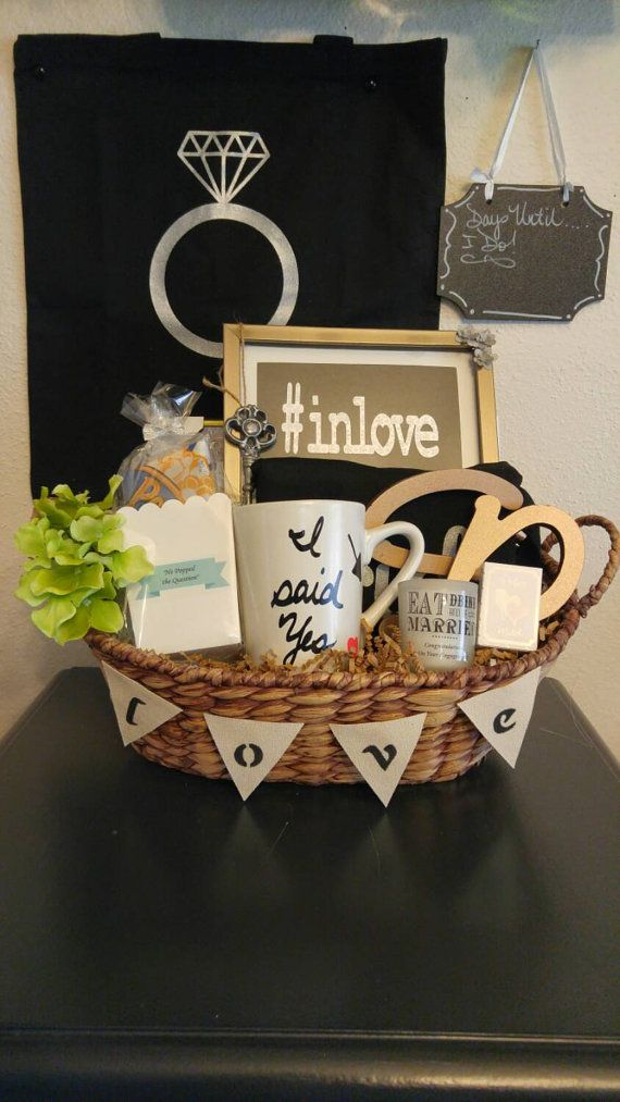 Engagement Gift Basket. Send a basket to congratulate the bride/groom to be. The basket listed in charcoal grey was a custom made basket. All