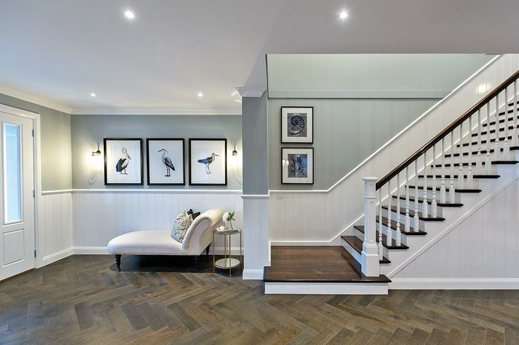Grand entrance and staircase in the Astor Grange with a Classic Hamptons World of Style.