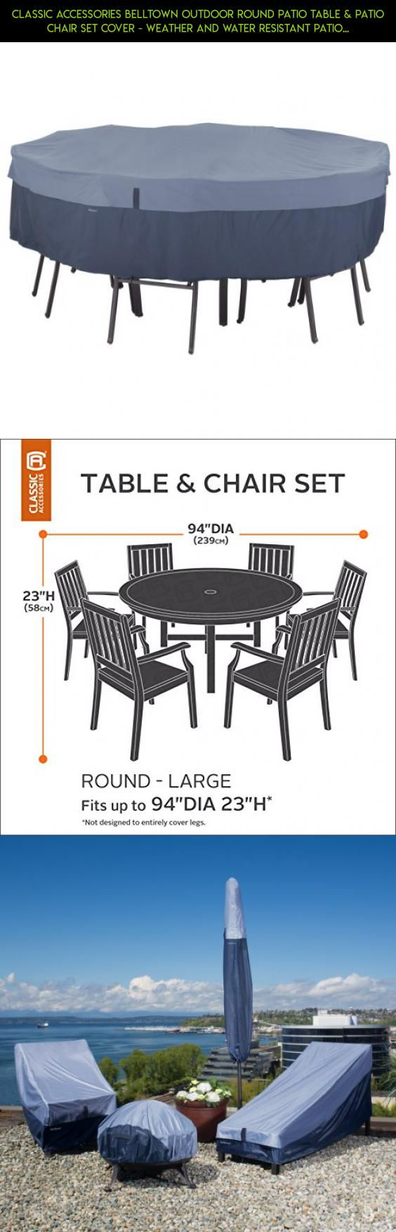 Classic Accessories Belltown Outdoor Round Patio Table & Patio Chair Set Cover - Weather and Water Resistant Patio Set Cover, Blue, Large (55-276-015501-00) #fpv #technology #camera #patio #racing #plans #shopping #tarp #drone #parts #kit #tech #furniture #products #gadgets