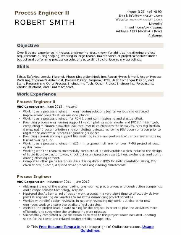 Process Engineer Resume In 2020 Teaching Resume Examples Teacher Resume Template Teacher Resume
