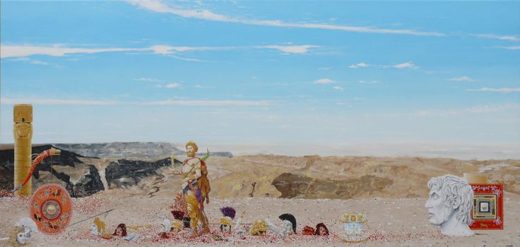 """His Divine Madness"", oil on canvas, 2013, 60 x 125cm. The landscape here is based on a photo of a region in the eastern desert of Egypt. The central figure is copied from a 19th century painting by Edwin Blashfield titled ""The Emperor Commodus leaving the Arena at the head of his Gladiators"". This figure is Commodus. The bust on the right is of the dictator, general and politician Lucius Cornelius Sulla. www.jeremyelkington.weebly.com"