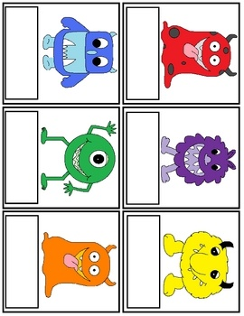 This version is for slightly older children who recognize color words. The children can trace the color word and then match to the monster cards. Print and Laminate.