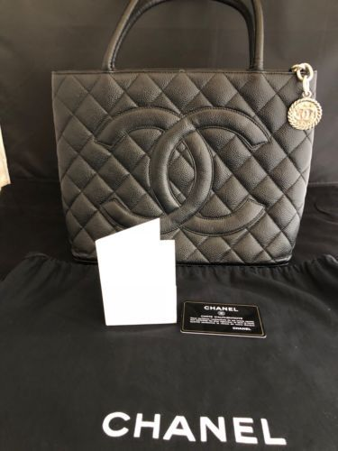 b3b8cf7afe54 Chanel Caviar Leather Medallion with Silver Hardware in Black Shoulder  Handbag