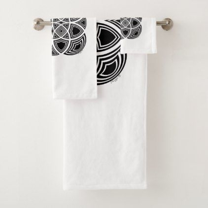 Black And White Geometric Fractal Design Bath Towel Set - modern gifts cyo gift ideas personalize
