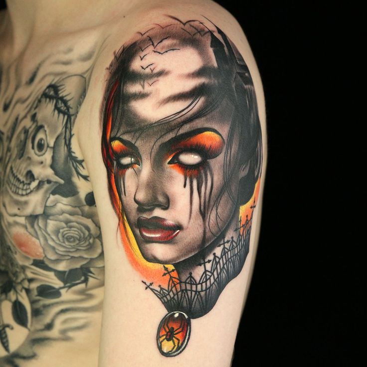 Halloween themed tattoo by Anthony Michaels Ink Master