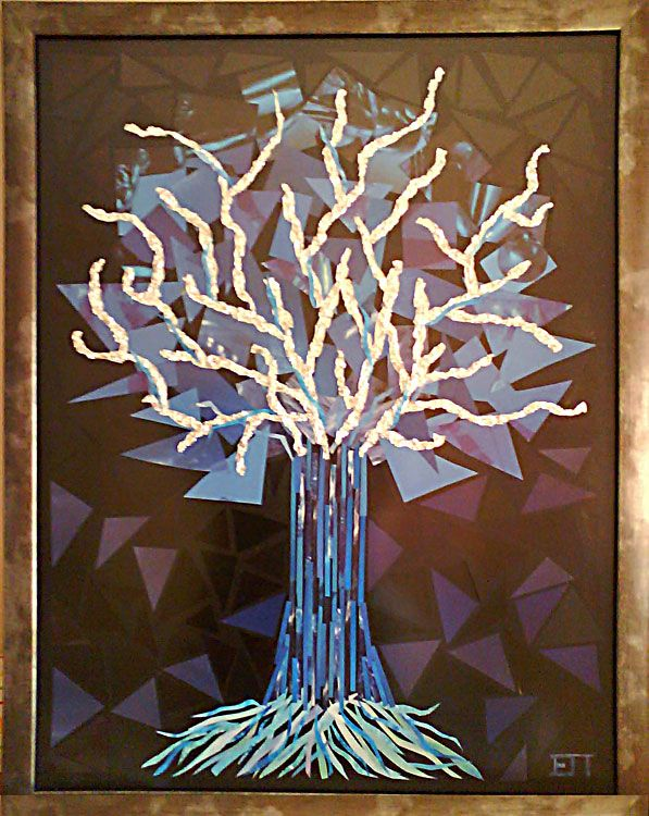 Tree, paper mosaic collage from magazine pages, 50 X 70 cm