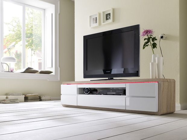 TV - Lowboard Jutta inklusive LED Beleuchtung mit Fernbedienung Hochglanz weiß und Eiche sägerau 1 x Lowboard TV Kommode /  Media-TV-Element mit 5 Schubkästen...
