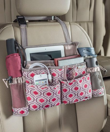 Enhance your car organization with this multi-pocketed seat-front pack featuring an abundance of pockets and compartments for securing your on-hand essentials when you're on the go.