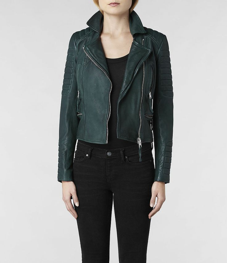 Womens green leather jacket