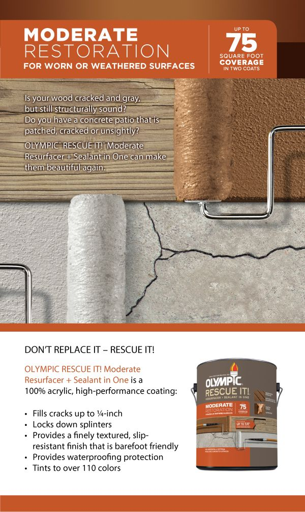 Olympic RESCUE IT! Moderate Resurfacer + Sealant in One is ideal for worn or weathered wood and concrete. With the proper preparation, this 100% acrylic coating fills wood and concrete cracks up to ¼″ and locks down splinters. Don't replace it. RESCUE IT!