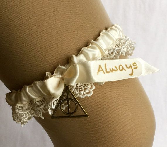 Harry Potter wedding garter Always by YourThemedWedding on Etsy