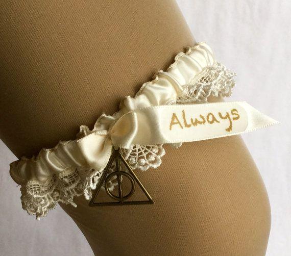 Harry Potter wedding garter Always by YourThemedWedding on Etsy