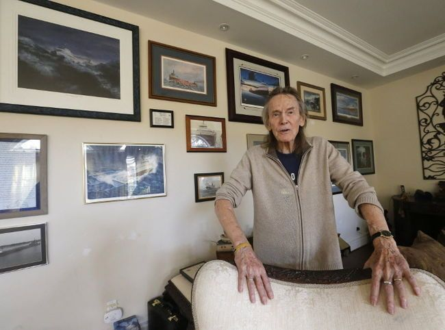 Gordon Lightfoot in front of the Edmund Fitzgerald wall at his Toronto home. MICHAEL PEAKE/ POSTMEDIA