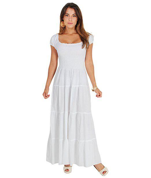 KRISP Damen Boho Maxi Kleid Einfarbig Bodenlang  - Sommer Hosen Trends  sommer outfit damen urlaub 7668ae4050