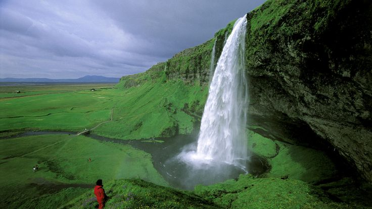 seljalandsfoss waterfall on the southeast coast of iceland