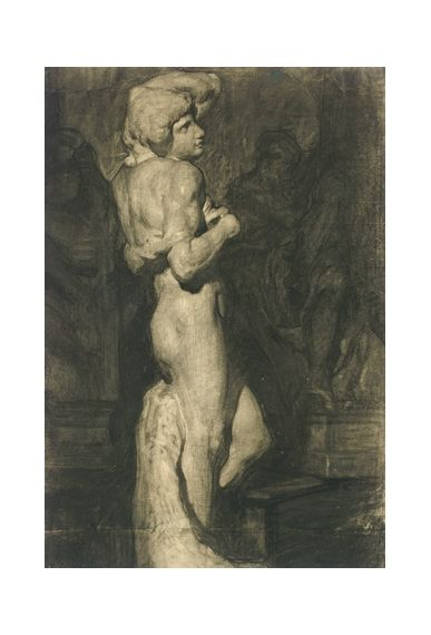 Daniel Garber - Standing Male Figure cast drawing from Michelangelo's Slave
