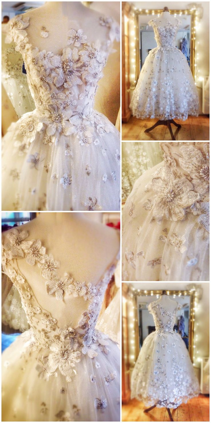 Embroidered flower embellished tulle ballerina wedding dress by Joanne Fleming Design