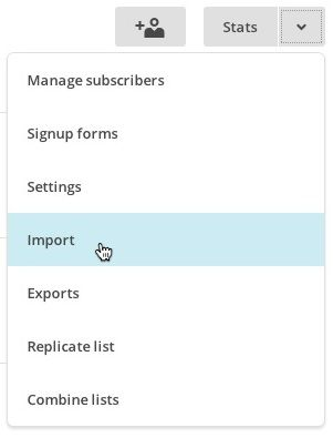 List drop-down menu with cursor over the import option.