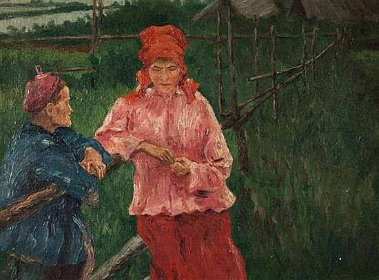 Лукш-Маковская Елена Константиновна (1878-1967) Деревенские сплетни.