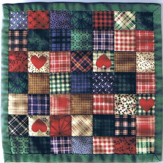 """Free US Shipping! Miniature Country Patch Dollhouse Quilt or Rug 7.5"""" Square Great for OOAK Sculpt Doll"""
