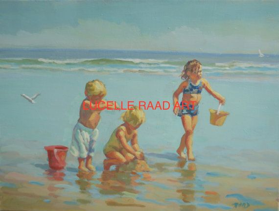 A SUMMER PLACE three children on the beach canvas giclee, impressionistic,  summer friends, beach children, beach wall art, Lucelle Raad Art