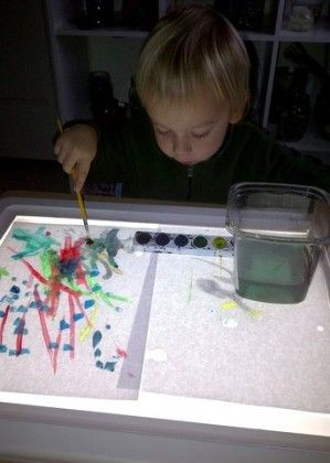 painting on a light table