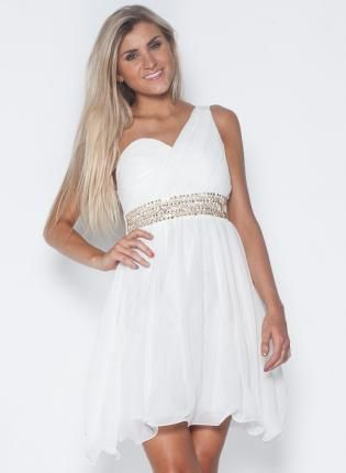 """""""Get Away Dress!!""""  White Formal Dress - White One Shoulder Dress with"""