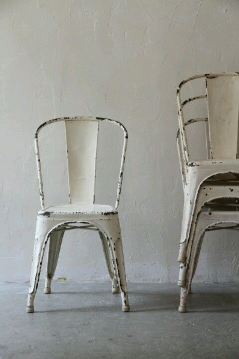vintage chairs, crackled paint, plaster walls