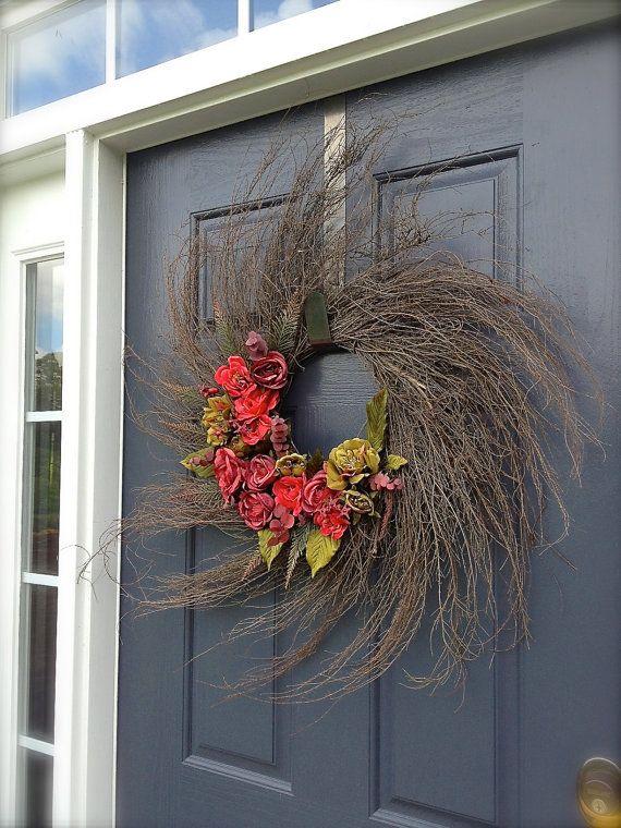 Wispy Twig Wreath  Spring Wreath  Rose Wreath by WreathsByRebeccaB, $54.00