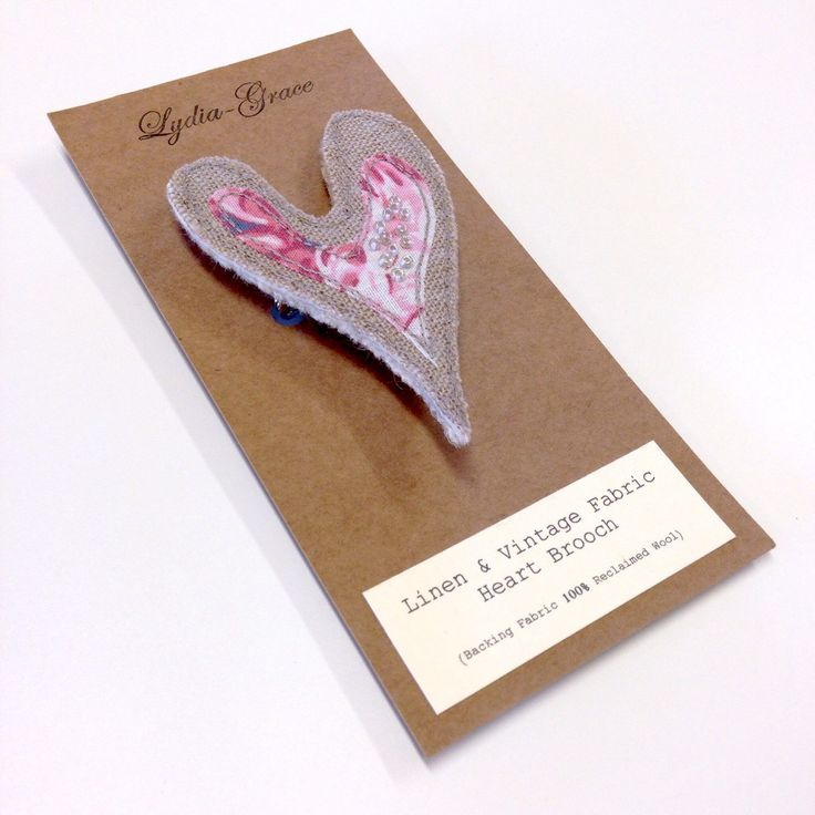 A personal favourite from my Etsy shop https://www.etsy.com/listing/234655714/linen-vintage-fabric-heart-brooch