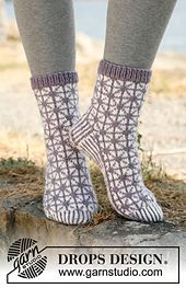 "Ravelry: 132-7 ""Silver Star"" - Socks with pattern in Karisma Superwash pattern by DROPS design"