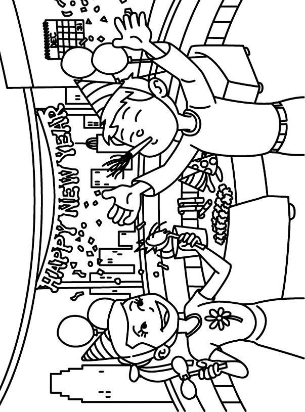 Coloring Pages Happy New Year Box