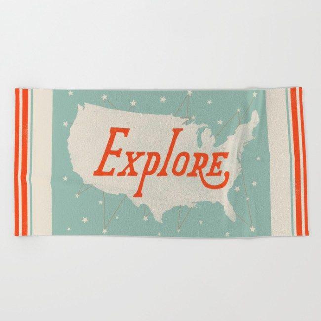 Explore beach towel by Landon Sheely
